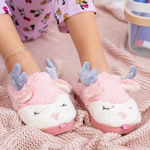 Papuci de casa Cocolino femei cu cornite de ren Gri /Roz