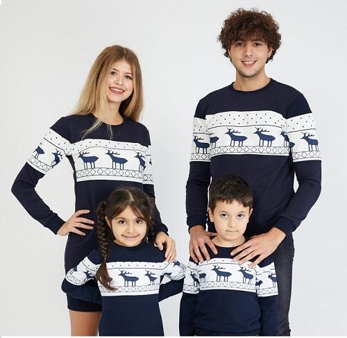Idei Cadouri de Craciun Seturi Set Bluze 3 piese cu motive de iarna Family bleumarin