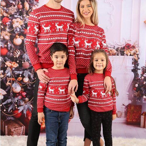 Set bluze Craciun Family Runny Rosu