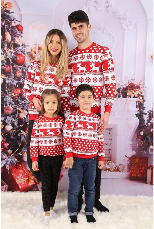 Idei Cadouri de Craciun  Set Bluze Family Zendy rosu cu alb