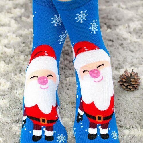 Idei Cadouri de Craciun  Sosete de craciun albastre cu Mos Craciun si fulgi Socks Concept SC-NL19