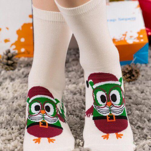 Idei Cadouri de Craciun  Sosete de craciun cu model bufnita cu ochelari Socks Concept SC-NL07