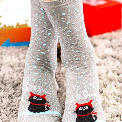 Idei Cadouri de Craciun  Sosete de craciun cu pisicuta si fulgi Socks Concept SC-NL04