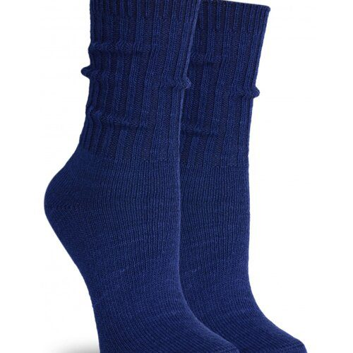 Idei Cadouri de Craciun  Sosete groase lana bleumarin cu manseta lunga raiata Socks Concept SC-1601
