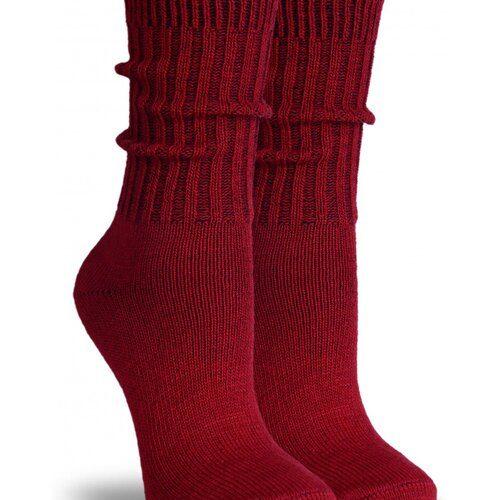 Idei Cadouri de Craciun  Sosete groase lana bordo cu manseta lunga raiata Socks Concept SC-1601-1