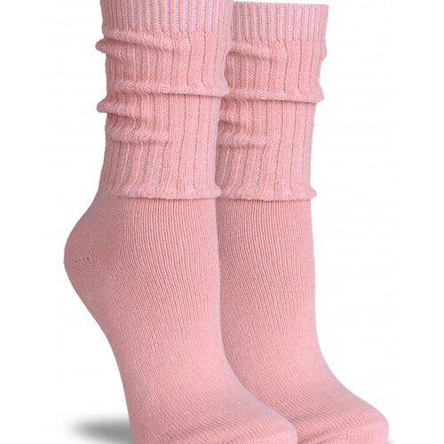 Idei Cadouri de Craciun  Sosete groase lana roz cu manseta lunga raiata Socks Concept SC-1601-4
