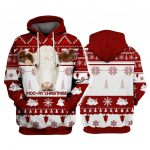 Pulovere de Craciun Hereford Cattle Moo-Ry Christmas 3D Hoodies Printed Pullover Men for Women Pulovere haioase Pulover de Craciun Expediere prin picatura