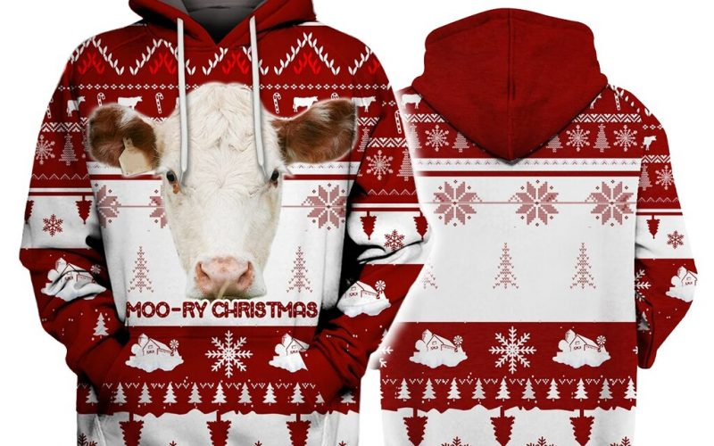 Hereford Cattle Moo-Ry Christmas 3D Hoodies Printed Pullover Men for Women Pulovere haioase Pulover de Craciun Expediere prin picatura