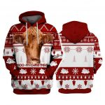 Pulovere de Craciun Red Angus Cattle Moo-Ry Christmas 3D Hoodies Printed Pullover Men for Women Pulovere haioase Pulover de Craciun Expediere prin picatura